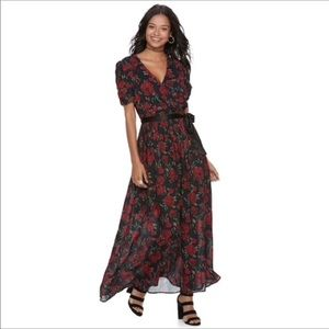 Juniors' Floral Rose Surplice Maxi Wrap Dress
